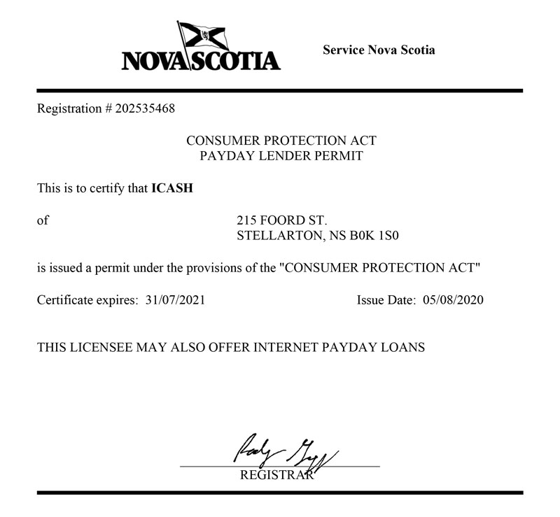 Nova Scotia License